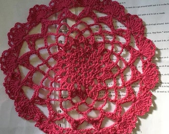 Lacy Doily in Hot Pink
