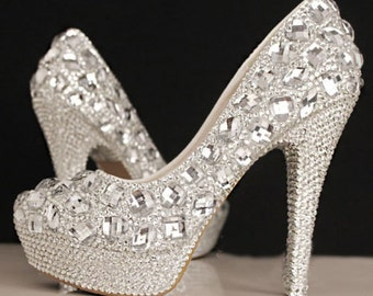 Hand-Made Rhinestone Wedding Special Occasion Heels Shoes