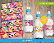 Shopkins Bottle Labels - Printable water bottle tags, labels, decoration, favors - INSTANT PDF DOWNLOAD