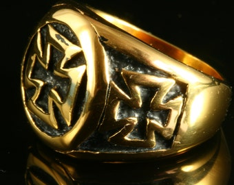 24K Yellow Gold Plated Black Stainless Steel Masonic Biker German Ring