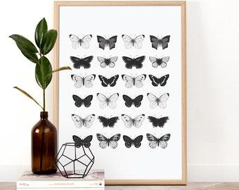 Butterfly Print, Printable Wall Art, Wall Art, Digital Download, Screenprint, Minimal art print, Nature Art Print, Black and White Print