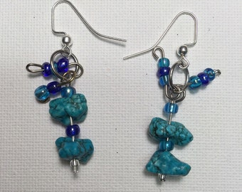 Turquoise  with blue seed beads Earrings