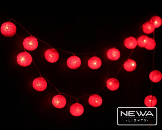 Red String Lights For Bedroom : 20 Red Cotton Ball String Lights Fairy by NewaLights on Etsy