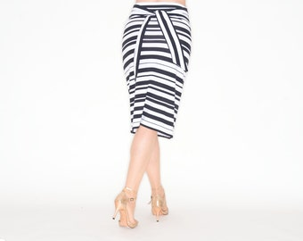 DE ANGELIS Pencil Skirt With Stripes and Bow
