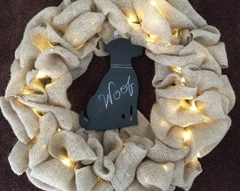Dog lovers, Burlap Wreath with Dog Shaped Chalkboard.