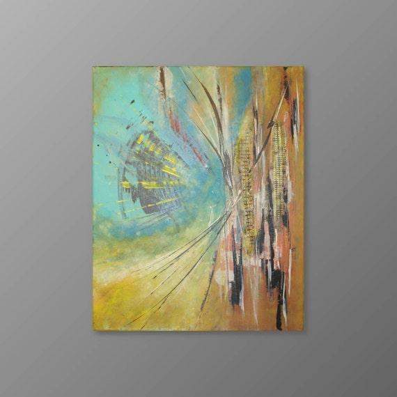Verde turquesa pintura abstracta pintura original pintura for Pintura verde turquesa