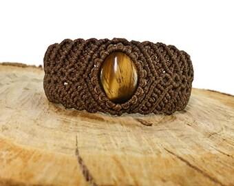 Tiger eye bracelet Brown macrame bracelet Unisex bracelet Tribal bracelet Gipsy jewelry Healing gemstone bracelet Micro macrame Gift anyone
