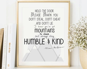 Humble and kind etsy always stay humble and kind sign printable home decor tim mcgraw quote inspirational wall stopboris Images