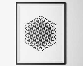 Flower of Life Sacred Geometry Printable Black and White Giclee Print psychedelic Minimalist home decor 8x10, 11x14