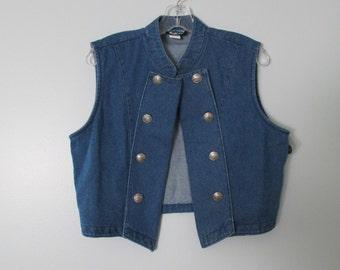 Vintage Military Inspired Denim Vest