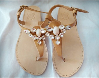 Crystal stones Sandals,genuine leather