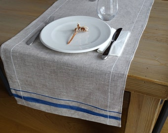 In hand-painted linen table runner. LINEAR. Available in three colors | Home decoration