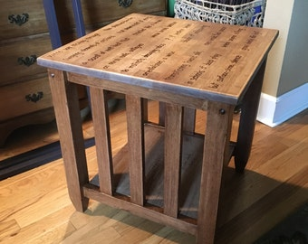 Artisan engraved mission style side table with original poem