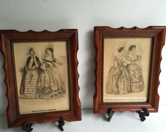 Chic Vintage Pair of Small Godey Fashion Prints with Frame