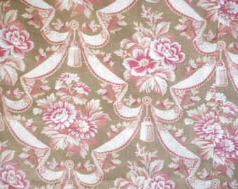 beautiful old linen fabric has flowers