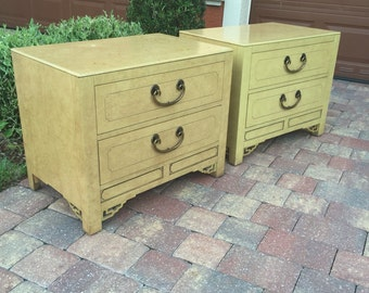 Pair Of Vintage White Fine Furniture Nightstands With Fretwork