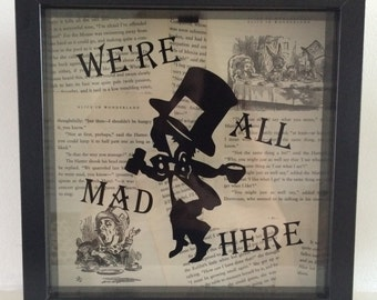 The Mad Hatter we're all mad here Alice in Wonderland shadow box frame black