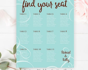 Teal Wedding Seating Chart, Table Numbers, Custom Wedding Seating Chart Sign, Printable Wedding Seating Chart Poster, Printable Poster