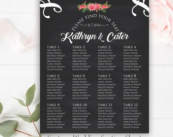 Floral Wedding Seating Chart, Table Numbers, Custom Wedding Seating Chart Sign, Printable Wedding Seating Chart Poster, Rustic Wedding