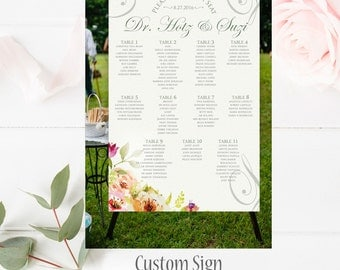 Floral Seating Chart, Table Numbers,Floral Custom Wedding Seating Chart Sign, Printable Wedding Seating Chart Poster, Rustic Wedding