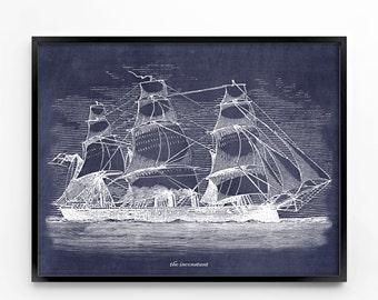 nautical wall art, printable art, wall decor, office decor, home decor, graphic art, art print, instant download, costal, cottage art, ship