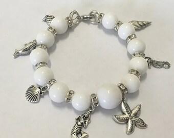 White bracelet - white bracelet with pendants silver