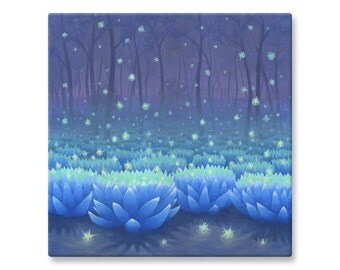 "Lotus Flower Painting, Canvas Print, Mystical, Fantasy, Nature Art, 12x12"", 16x16"""