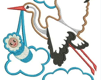 stork with a baby, applique, embroidery, instant download.