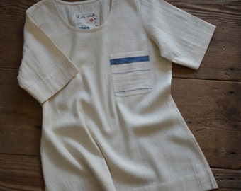 Hand-spun and handwoven khadi top , khadi tee-shirt , khadi fabric , handloom cotton , unbleached , organic cotton , khadi garment