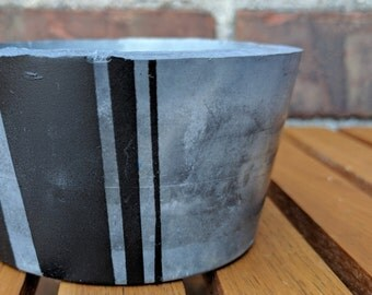 Marbleized Concrete Planter with Black Barcode Design