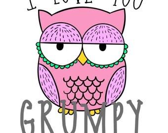 Love You Grumpy Owl Postcard
