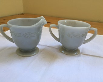 Grey Fire King Cream and Sugar Set