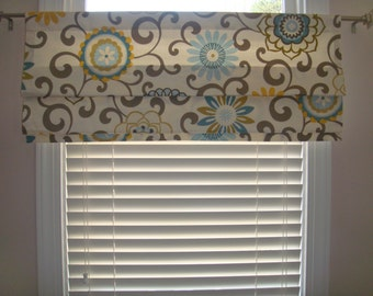 Fun Swirls Suzani Taupe Grey Blue Yellow Green Faux Roman Shade Scroll Window Treatment Kitchen Bedroom Office Bathroom Laundry