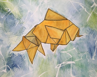 Origami Gold Fish Gouache Painting