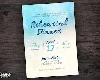 Blue Watercolor Rehearsal Dinner Invitation