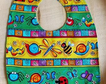 Whimsical Parade of Bugs Print Baby Bib