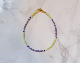 Lime Green and Lilac Seed Bead Bracelet with Cobalt and Clear Accents