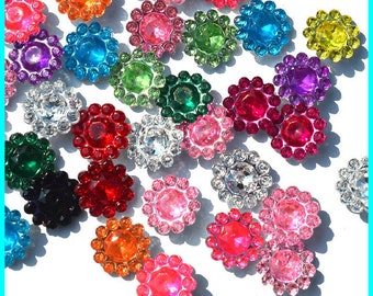 50 Pieces mixed color flower flatback resin rhinestone for DIY