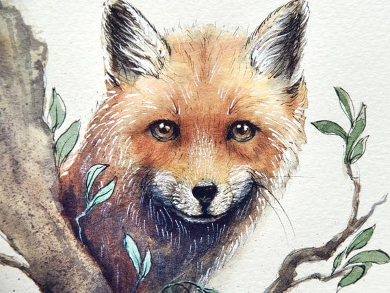 Fox Wall Art Print from an original watercolour painting by Corinne Dany / Animal Print /  Kids Room / Nature Painting / Cute Fox / Gift