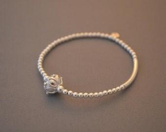 Bali bead sterling silver 3mm bracelet