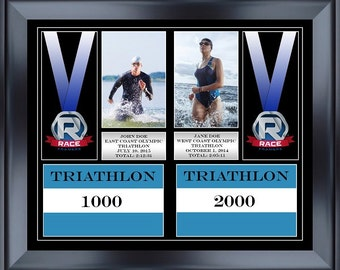 "18"" Wide By 14.75"" Tall Double Medal Race Frame With Bibs"