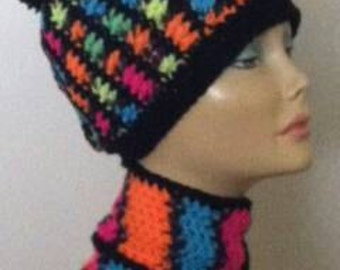 Crochet  Multi Colored Hat and Scarf set