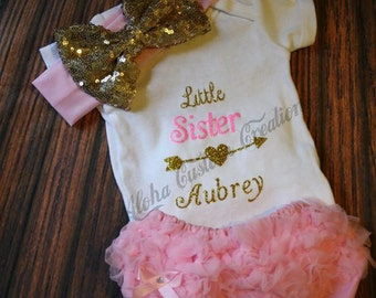 Little Sister Onesie Bodysuit/Big Sister, Baby Girl Outfit, Take Me Home Hospital Outfit