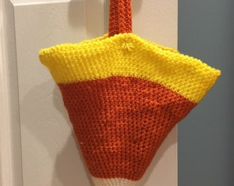 Handmade Crochet Candy Corn Bag! Great For Trick or Treating and Halloween Decor!