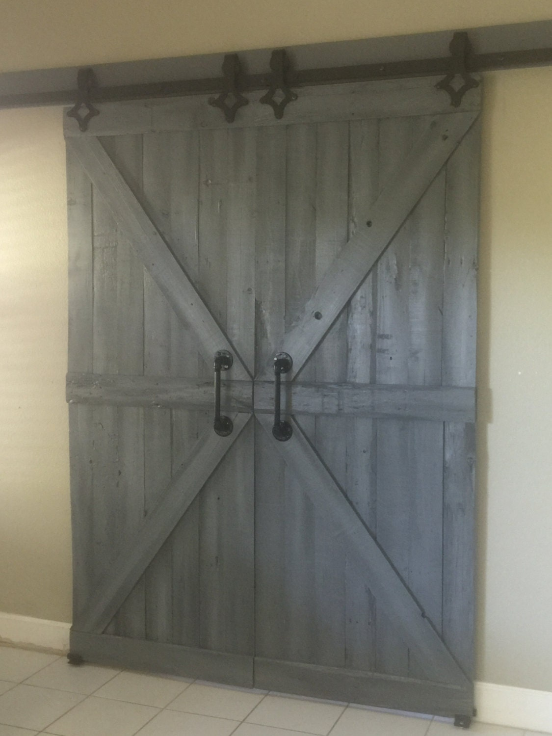 Single barn door or double barn doors by plank49designs on etsy - Swinging double doors interior ...
