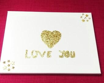 Heart glitter painting