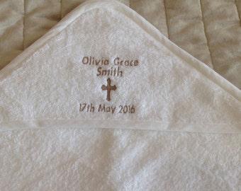Personalised Christening gift, personalised hooded baby towel