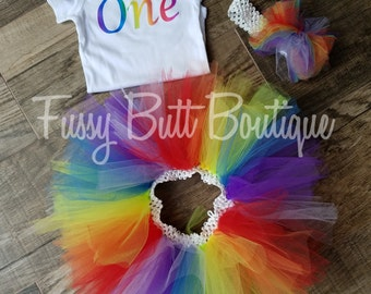 Rainbow 1st birthday outfit