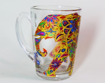 Yellow elephant mug, Indian elephant mug, Funny mug, Painted coffee mug, Glass unique mug, Gift for her, Personalized, coffee mug, 11 oz mug