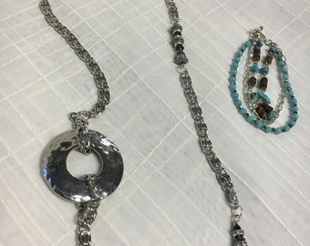 Silver chain necklace/lanyard set